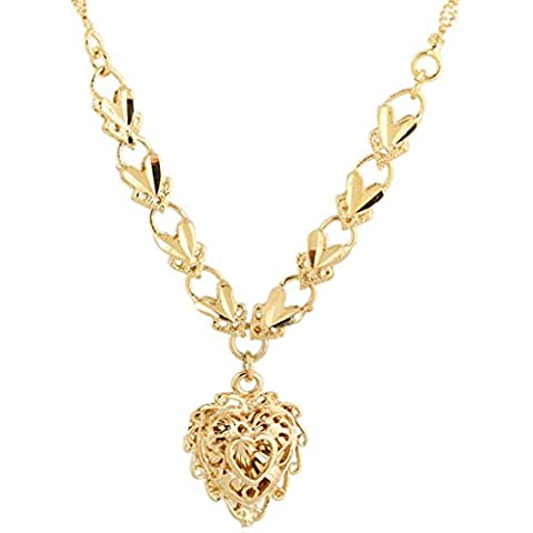 Frauen Golden Carving Love Herz kupfer Halskette baumeln Anhänger Lätzchen Erklärung
