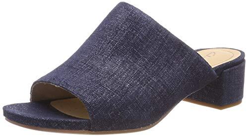 Clarks Damen Orabella Daisy Pantoletten, Blau (Navy Interest), 38 EU - Clarks Pantoletten Für Damen