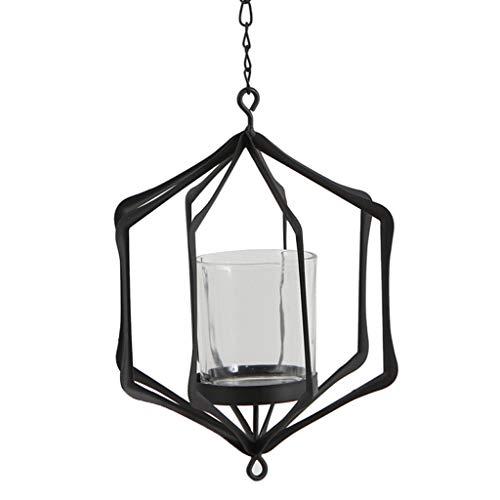 B Blesiya Vintage Hängender Windlicht Laterne Kerzenhalter Gartenlampe Kerzenlaterne Dekor - E - Schwarz