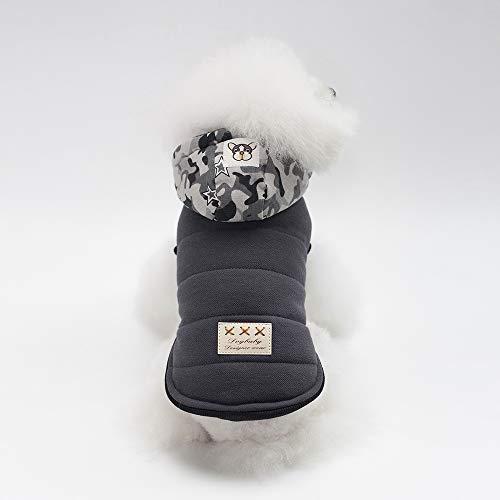 PET Cloth Home Herbst und Winter Neue Hund Kleidung Haustier liefert Hund Kleidung Tarnung Hut Baumwollmantel (Color : Ash, Size : XL) - Ash Winter Hut
