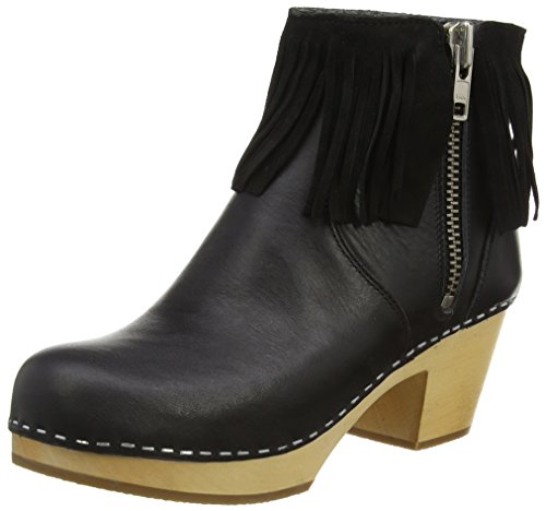 Swedish HasbeensFringy Boot - Stivaletti donna , Nero (Black (Black/Nature)), 39 1/3