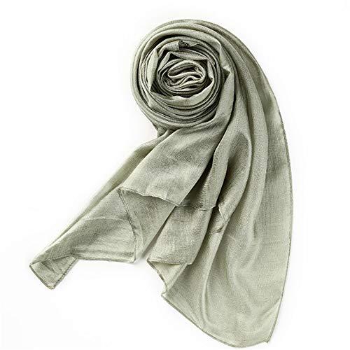 Easy Go Shopping New Reine Farbe Seide Sommer Seide Baumwolle Strandtuch Damen Sonnencreme Schal (Farbe : Grün)