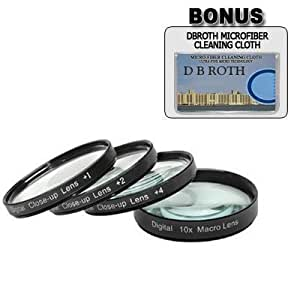 .+1, +2, +4, +10 Close Up Filter Set For The Samsung GALAXY NX, NX2000, NX300, NX1100 Digital Camera Which Has The 20-50mm Lens