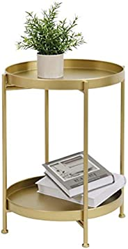 Tray Metal Round Side End Table Folding Side Table for Outdoor or Indoor Use,Anti-Rust and Waterproof Nightsta