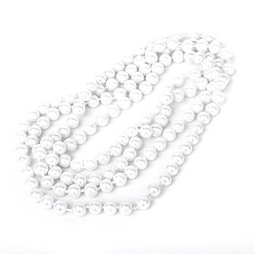 SODIAL(R) Collar Con Cuentas Artificiales Blancas Perlas Imitativas Collar De Cadena Para Mujeres