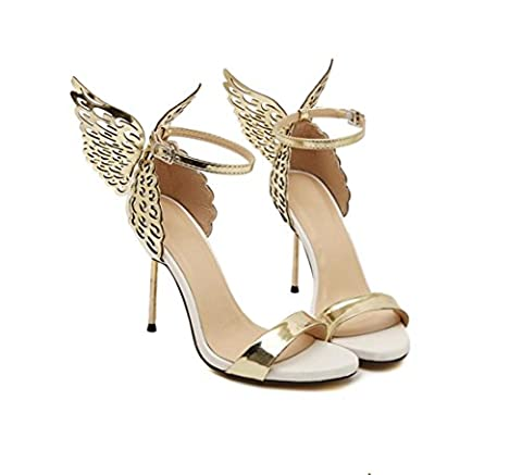 WZG Open-toed three-dimensional butterfly angel wings shoes buckle steel with high-heeled shoes with the new fine sandals , gold , 37
