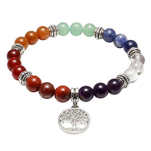 JOVIVI Damen Herren Stein Armband Reiki-Energietherapie Yoga-Armband Baum des Lebens Anhänger 7 Chakra Balance Armband