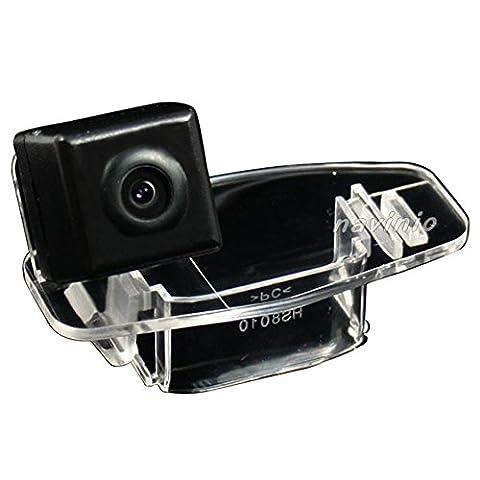 dynavsal voiture HD CCD caméra de recul 170degrés grand angle avec capteur radar aide au stationnement universel NTSC, rückfahrc Recul-Specific Camera Integrated en Number Plate Light (Noir) Vehicle pour Accord/Civic