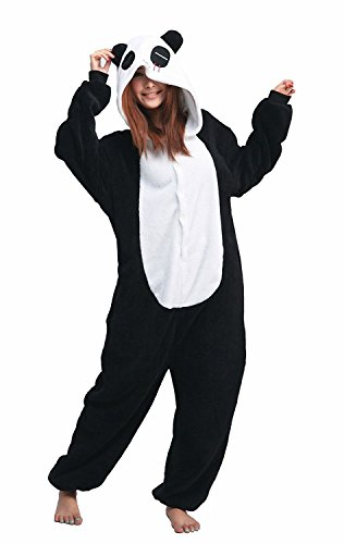 Panda Ganzkörper Tier-Kostüm für Erwachsense - Plüsch Einteiler Overall Jumpsuit Pyjama Schlafanzug - Schwarz/Weiß - Gr. M (Tier Kostüm)