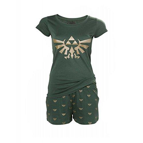 Zelda Hyrule Shorty Pyjama Schlafanzug Damen Baumwolle grün - S -