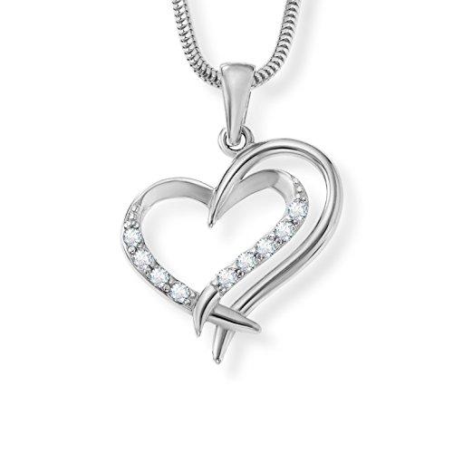 skette echt Silber original Swarovski Elements Herz-Anhänger Herzkette klar längen-verstellbar Geschenkverpackung, Geschenkidee beste Freundin (Echte Türkis-halskette Für Frauen)