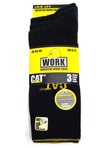 Preisvergleich Produktbild CAT Caterpillar 3 Paar hochwertige Exekutive Spezial Arbeitssocken in 43-46|39-42, Schwarz,Grau oder Blau für hohe Ansprüche, Stahlkappe geeignet, Laborsocken, Büro-Arbeitssocken (39-42, Schwarz)