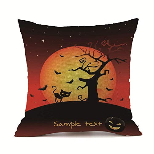 Gsgdae 2019 Happy Halloween Quadratischer Leinen-Kissenbezug für Sofa, Bett, Heimdekoration, Festival, 45,7 x 45,7 cm (2019 Halloween-tag Datum)