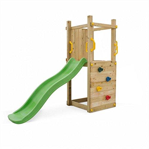 Spielturm Leon Farbe Natur mit grüner Rutsche | Garten Kletterturm | Spielplatz | Klettergerüst | Spielgerät | Grün Imprägniertes Holz