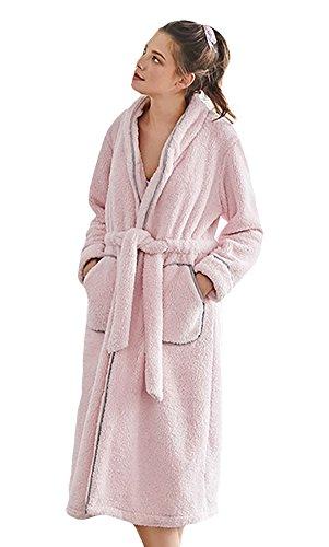 Damen-regular-waschbar Wolle (SK Studio Damen Plüsch Morgenmantel Saunamantel Winter Nachtwäsche Bademantel Pajamas Hausakleid Schlafkleid Mit Tasche Rosa EU S)