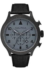 Nautica - A19616G - Montre Homme - Quartz Analogique - Cadran Gris - Bracelet Cuir Noir