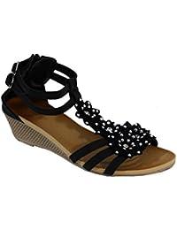 Les Femmes 69752 Sandales Ouvertes Avec Rieker Talon Compensé