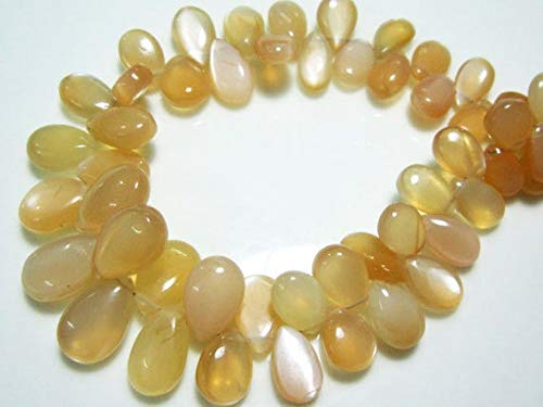 Earth Gems Park Super Fine Quality Gems Jewelry AAA Peach Moonstone Smooth Big Pear Briolettes- 8.50
