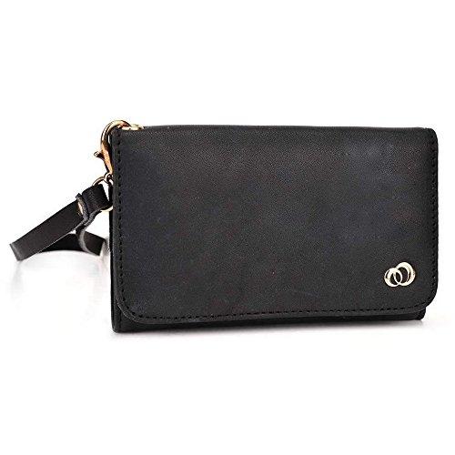 Kroo Pochette en cuir véritable pour téléphone portable pour Wiko bloom2/Highway Pure 4G Marron - peau noir - noir
