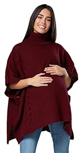 Chelsea clark. donna prémaman poncho collo alto cardigan mezze maniche. 964p (cremisi, one size it 42-48, one size)