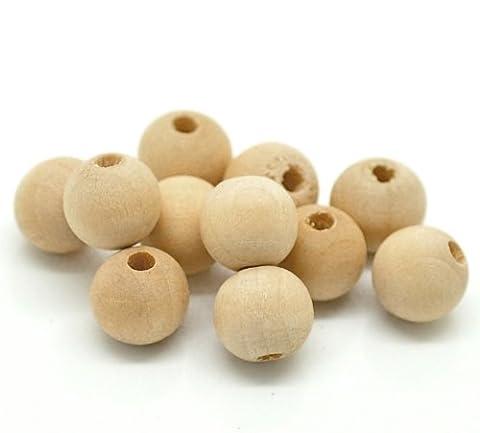 Perles en bois naturel-lot de 300 balles de 10 x 9 mm