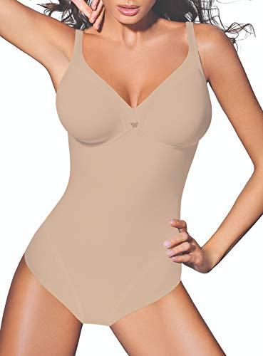 Lady Bella PA0194 Body Intimo Donna Contenitivo e Modellante Senza Ferretto - Coppa C Preformata Non Imbottita - Tessuto Doppiato per Pancia Piatta ed Effetto Snellente, Bretelle Larghe (Skin, 3D)