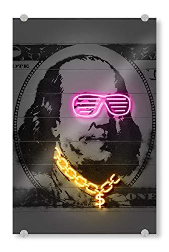 artboxONE Acrylglasbild 90x60 cm Menschen Franklin Bild hinter Acrylglas - Bild Franklin Dollar Kunst Geld Kunst
