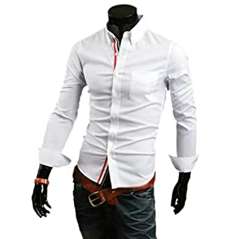 Zehui Mens Stylish Casual Fit Shirt Long Sleeve Button Front White Tag XXL