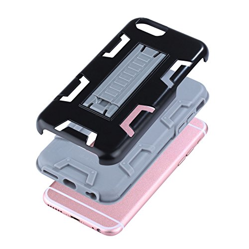 "HYAIT® For APPLE IPHONE 6 4.7""Case[C72][METAL][COLOR LINE][Holder] TPU+PC Premium Hybrid Shockproof Kickst Bumper Full-body Rugged Dual Layer Stents Cover-BLACK&BLACK IPHONE 6 4.7-C72-BLACK&GREY"