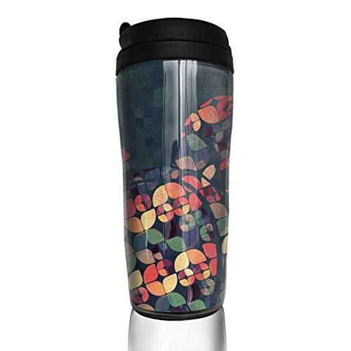 Travel Coffee Mug Pop Art Colour Sea Turtle 12 Oz Spill Proof Flip Lid Water Bottle Environmental Protection Material ABS