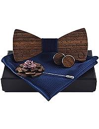 HITO Pajarita de madera + bufanda cuadrada + Gemelos + Broche e555f5bf914