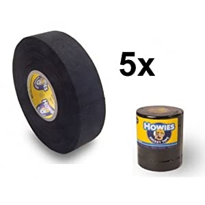 Howies 5X Schlägertape Cloth Hockey Tape 25mm f. Eishockey 18,2m Black