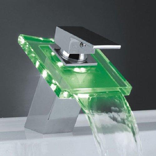 Auralum Wasserhahn Mit Chrom Glas RGB LED Licht Temperatur Waschtisch Wasserfall Armatur - 3