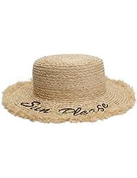 098a7397f075f L.P.L Sombreros de Sol de Verano para Las Mujeres Sombrero de Paja Letra  Bordado Sombrero Plano
