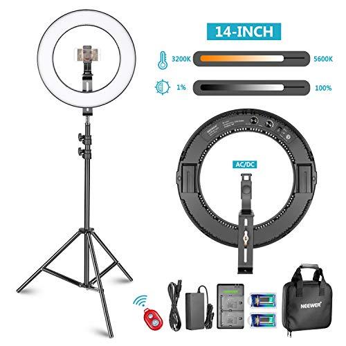 Neewer Kit di LED Luce ad Anulare, Esterno Dimmerabile,Bi-colore per Smartphone Studio Video Ripresa