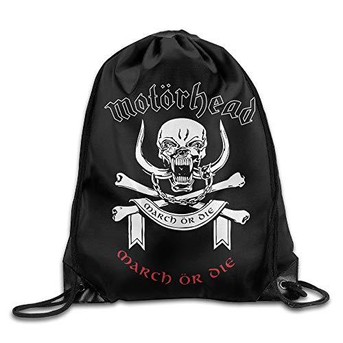 Motörhead British Heavy Metal Rock Band Skull March Or Die Drawstring Bags Rowing White Backpack Sport Bag For Men & Women School Travel Backpack For Teens College