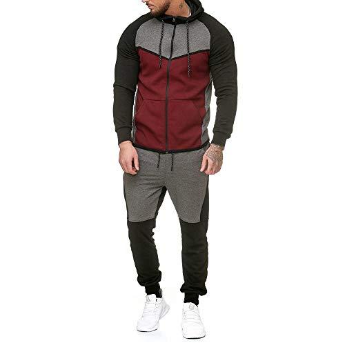 UJUNAOR Herren Trainingsanzug Pullover Patchwork Tasche Langarm Kapuzen Reißverschluss Top Hosen Set(Rot,EU M/CN L)
