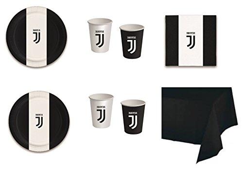 ußball Juventus F.C. für Geburtstag Ereignisse Dekorationen Tisch Party-Kit N ° 21cdc- (24Teller, 24Gläser, 40Servietten, 1Tischdecke einfarbig) ()