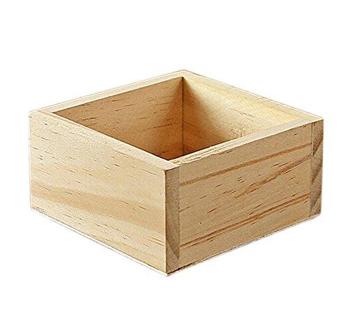 Qinlee Holz Aufbewahrungsbox Quadratische Holzkiste Gartenarbeit Blumentöpfe Kleine Werkzeuge Aufbewahrungsbox Desktop Aufbewahrungsbox Ohne Abdeckung (9.5*9.5*5CM)