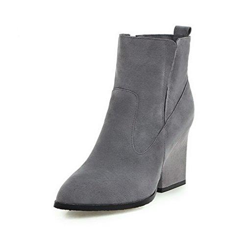 AllhqFashion Damen Rein Nubukleder Hoher Absatz Reißverschluss Stiefel, Grau, 36