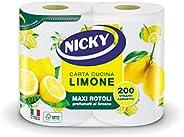 Nicky Limone Carta Cucina | Confezione da 2 Rotoli a 2 veli | 100 fogli per rotolo | Grande Assorbenza, Spesso