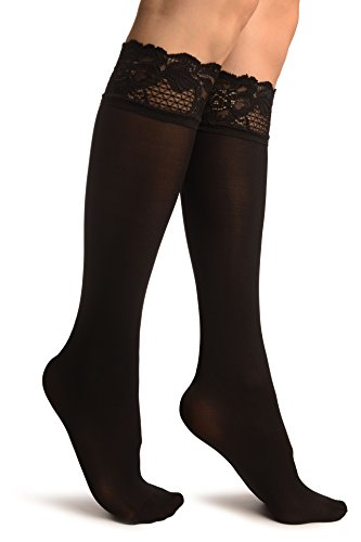Black Pain With Floral Silicon Lace Socks Knee High - Nero Calzini Taglia Unica (37-42)