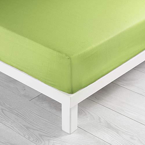 Douceur d'intérieur  - 1640671, lenzuolo con angoli singolo , 90 x 190 cm , lit uni , unito 57 fili , verde