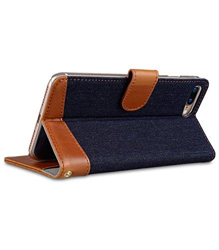 Apple Iphone 7 Melkco Elite-Serie Premium Leder-Snap zurück Tasche Tasche mit Premium-Leder Handgefertigte gute Schutz, Premium Feel-Tan Denim-Blau / Braun PU 1