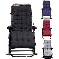 Cojín para silla de jardín, cojín para asiento y respaldo para tumbona, cojines para asientos, sillas reclinables, almohadilla para salón, color negro, 155 x 48 x 8 cm
