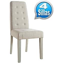 Pack 4 sillas para comedor o salón tapizadas en tela arena y estructura en madera maciza de pino 45x95cm