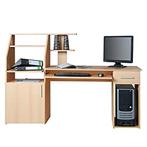 4031 computertisch schreibtisch pc tisch buche k che haushalt. Black Bedroom Furniture Sets. Home Design Ideas
