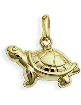 Schildkröte 3D Charms Anhänger 14 Karat Gold 585 10x18mm (Art.206053)