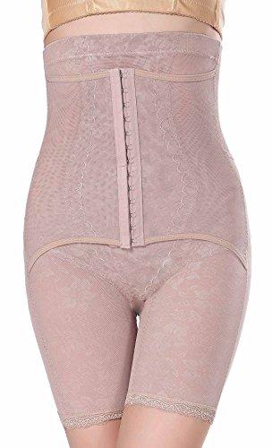 Feoya - Donna Mutandine Guaina Corpo Snellente Modellante Contenitivo Scolpito con Ventre Piatto a Vita Alta Shapewear Pratico da Andare in Bagno - Nero - Taglia 46-50 Beige