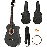 ts-ideen Western - Guitarra acústica, tamaño regular (4/4) con set de accesorios (bolso, cuerdas etc.), color negro